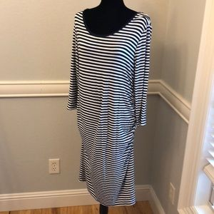 Navy & white striped long sleeve maternity dress
